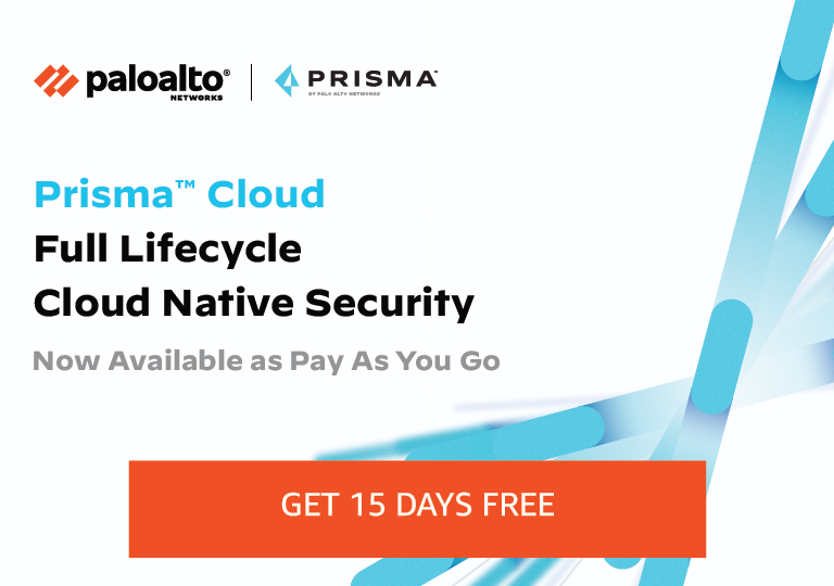 Prisma Cloud, the Cloud Native Security Platform (CNSP) by Palo Alto Networks, is now available on the AWS Marketplace with a Pay-As-You-Go subscription. Start your 15-day free trial today and achieve complete cloud native security across the application lifecycle.
