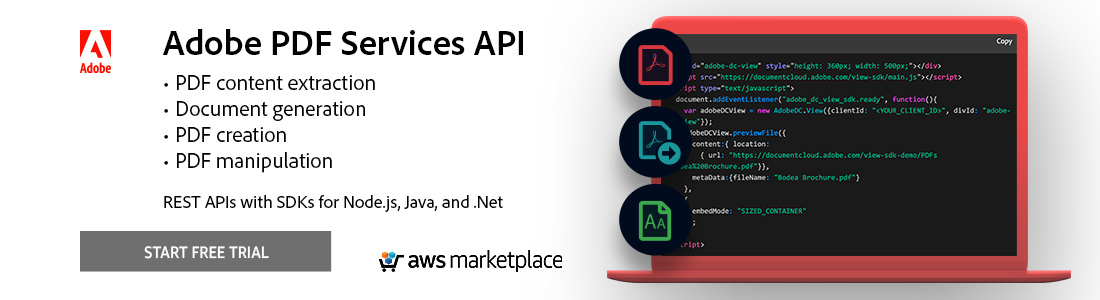 Adobe PDF Tools API allows you to create and manipulate PDF documents within your applications through scalable cloud-based web services.